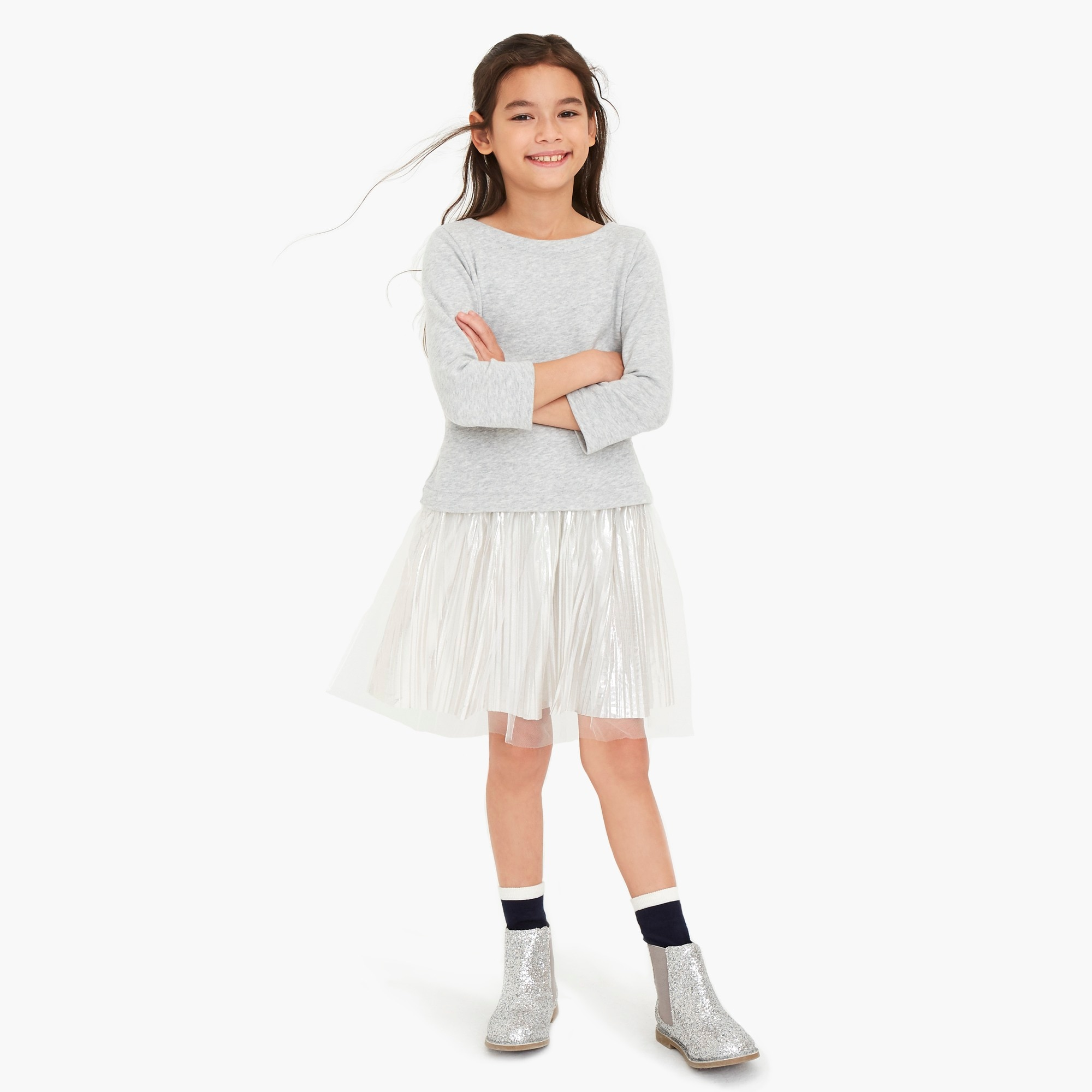 factory girls Girls' sweatshirt dress with pleated shimmer bottom
