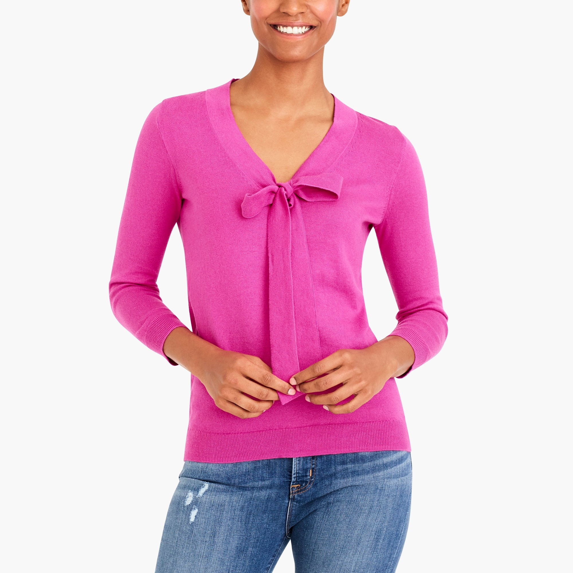 bow v-neck sweater : factorywomen pullovers