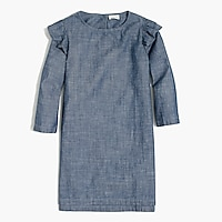 Image 1 for Girls' flutter-shoulder chambray dress