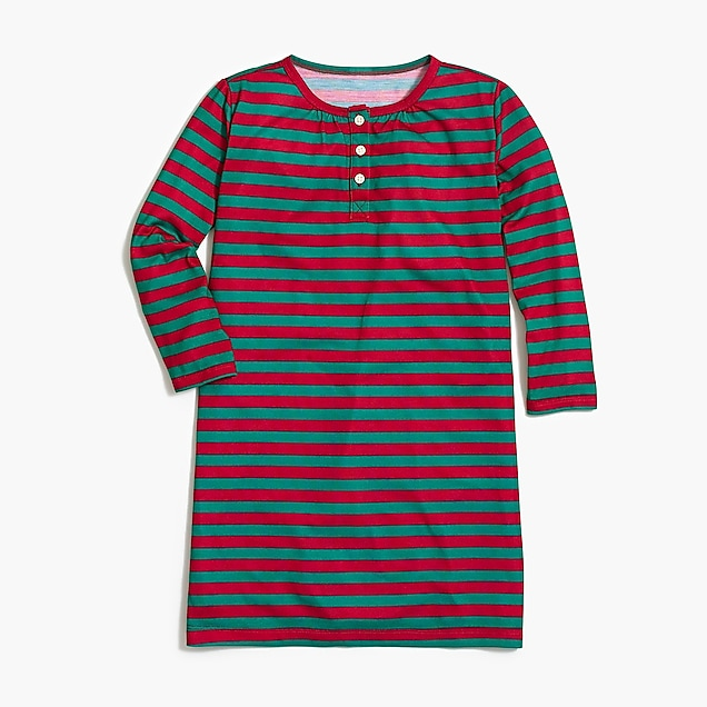 j.crew factory: girls' long-sleeve nightgown in walter stripe
