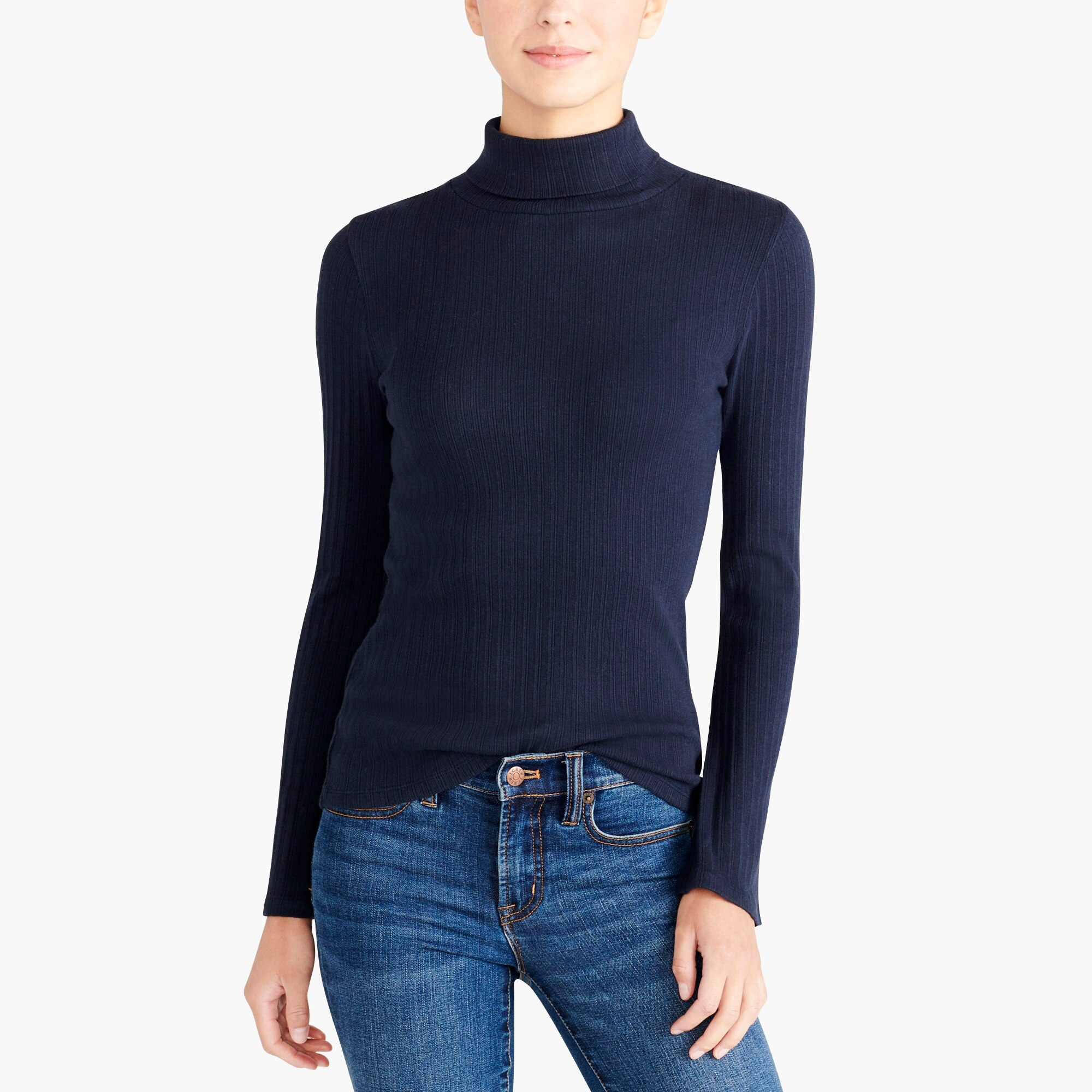 factory womens Ribbed flare-sleeve turtleneck