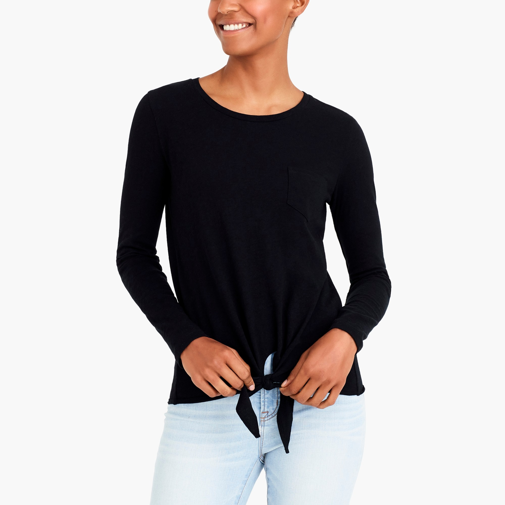 long-sleeve tie-waist t-shirt : factorywomen knits & t-shirts
