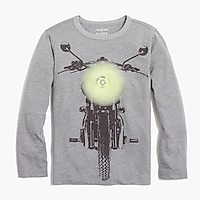 Image 1 for Boys' long-sleeve motorcycle glow-in-the-dark graphic T-shirt