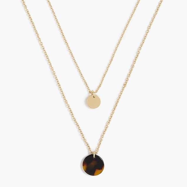 j.crew factory: tortoise and gold disc layering necklace