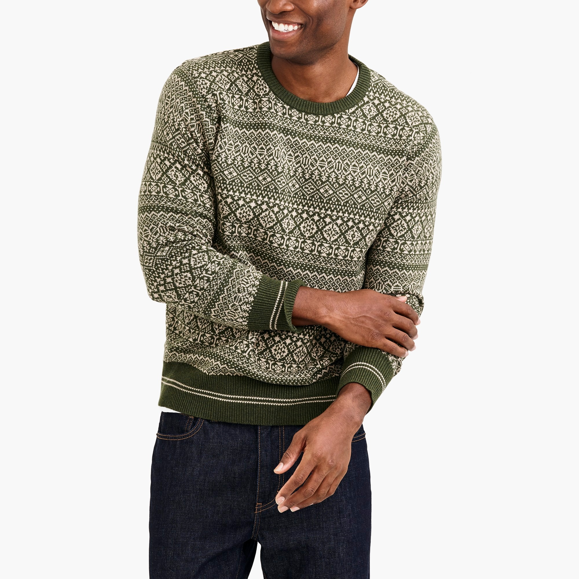 factory mens Jacquard cotton fair isle sweater