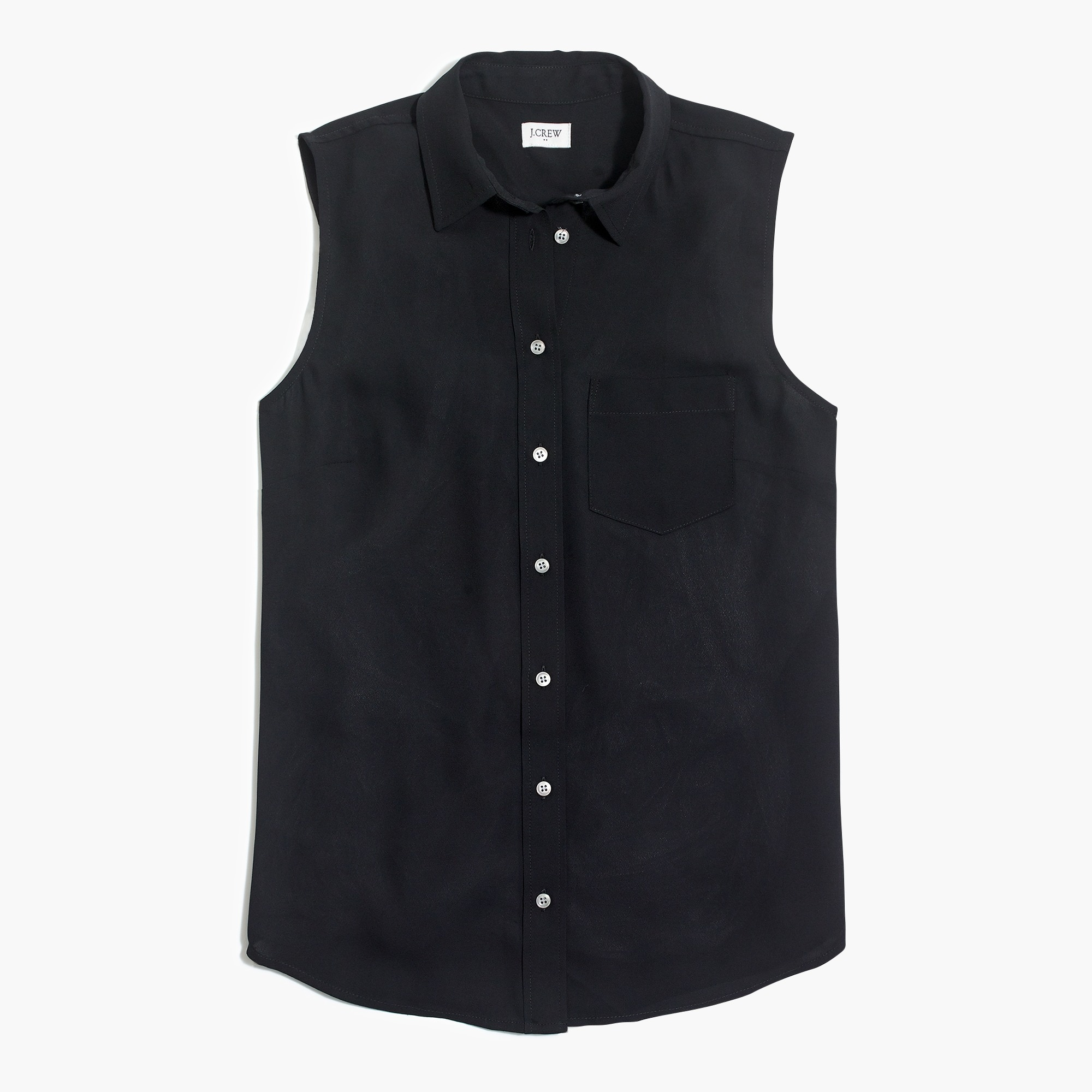 factory womens Silky sleeveless button-up shirt