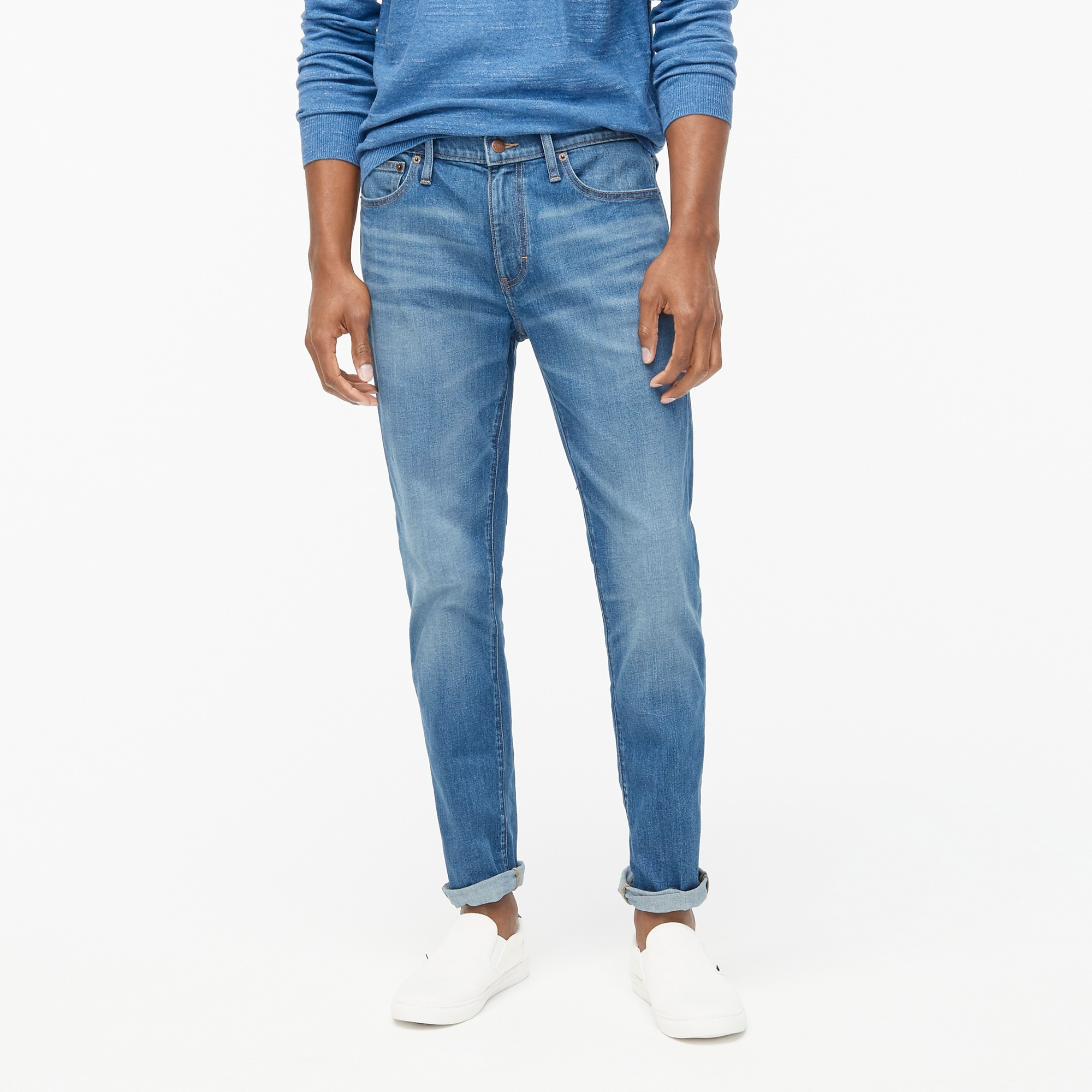 slim-fit flex jean in medium wash : factorymen denim