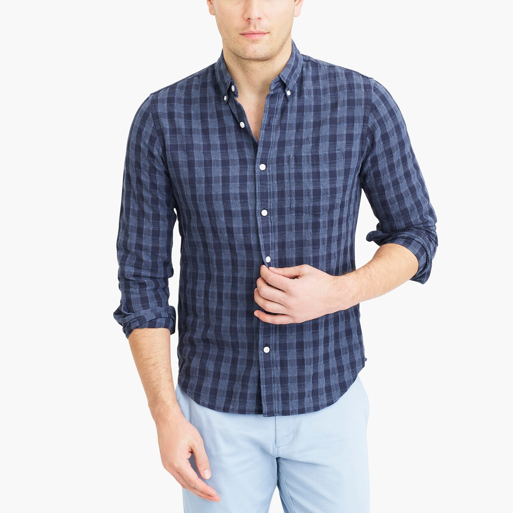factory mens Slim cotton shirt in plaid