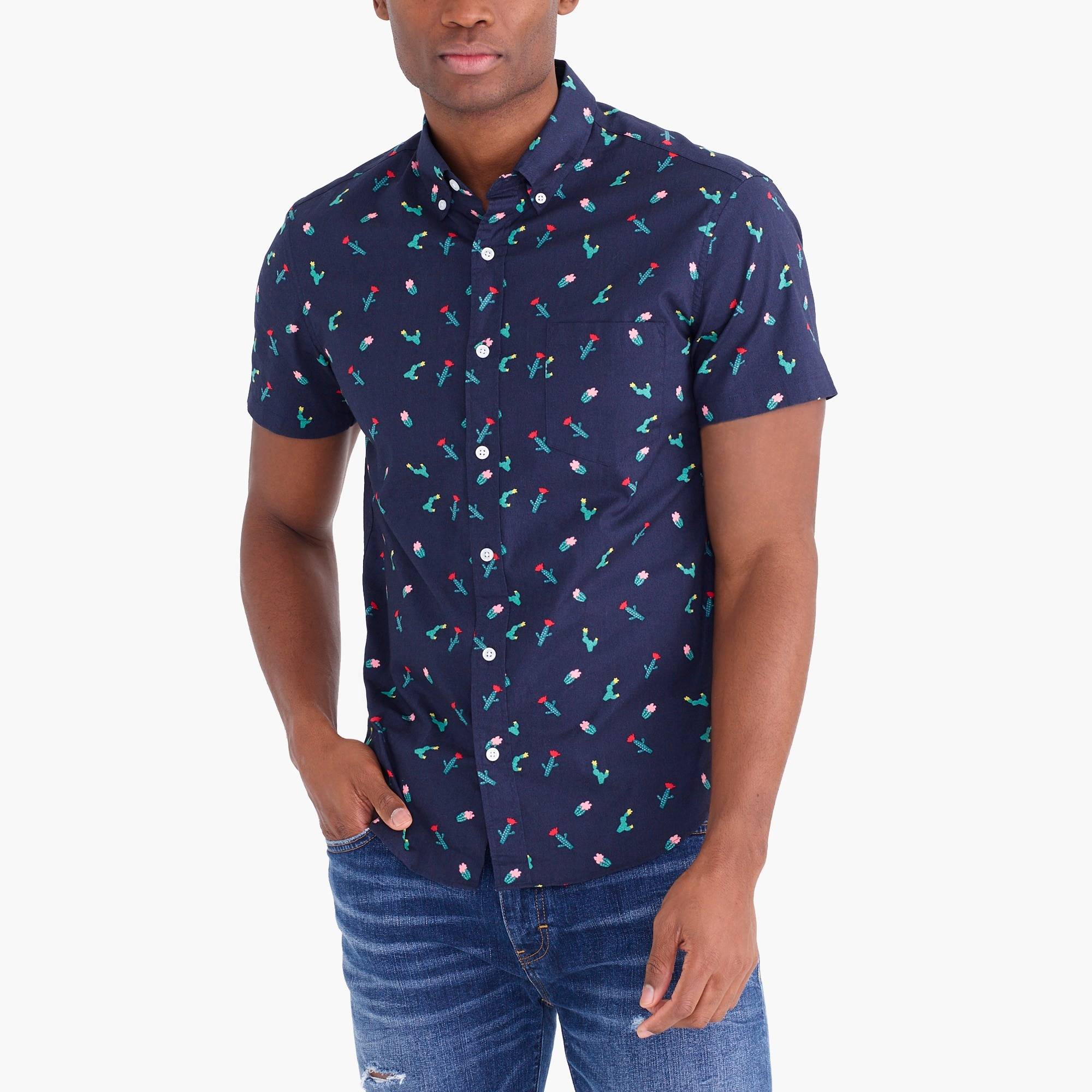Image 1 for Slim flex washed short-sleeve shirt in print