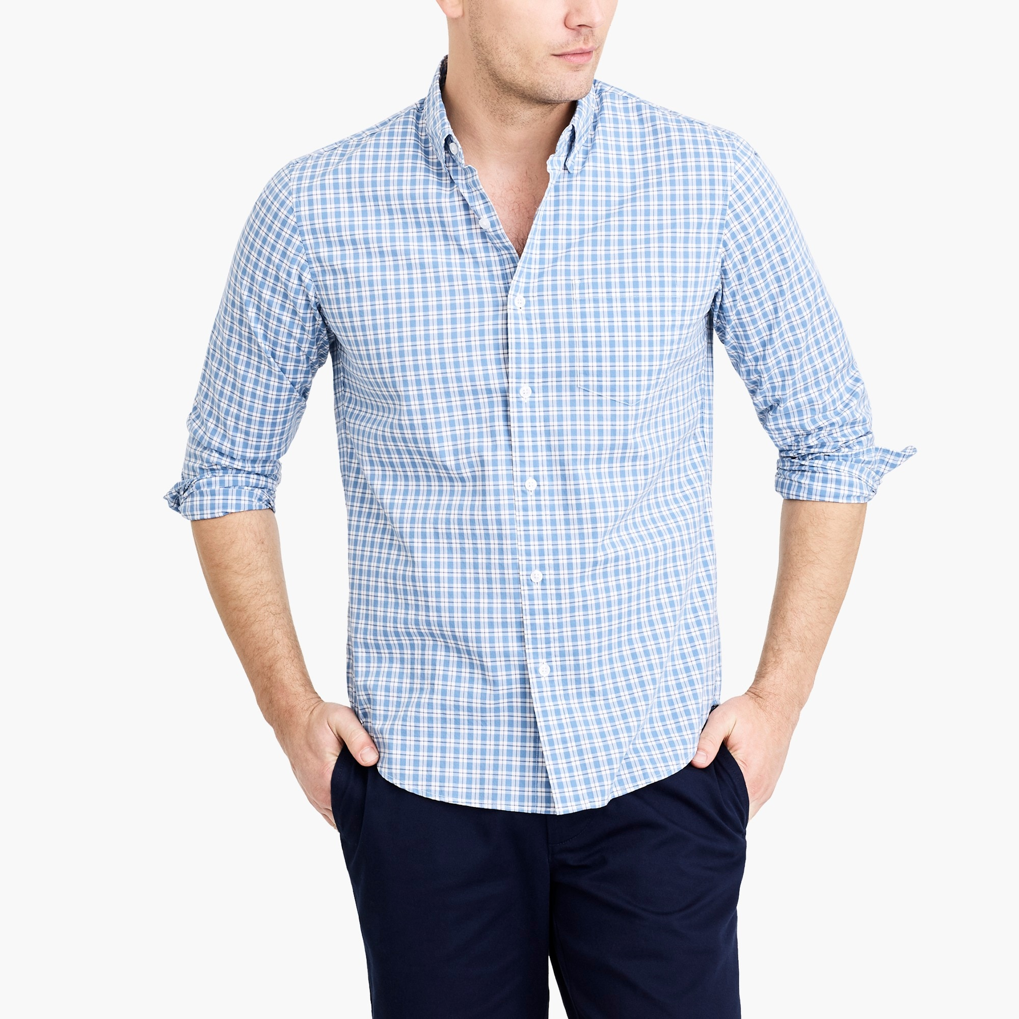 factory mens Slim-fit flex washed shirt in plaid