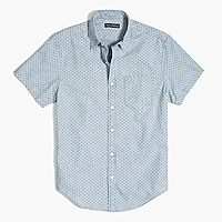 Printed slim casual short sleeve chambray shirt