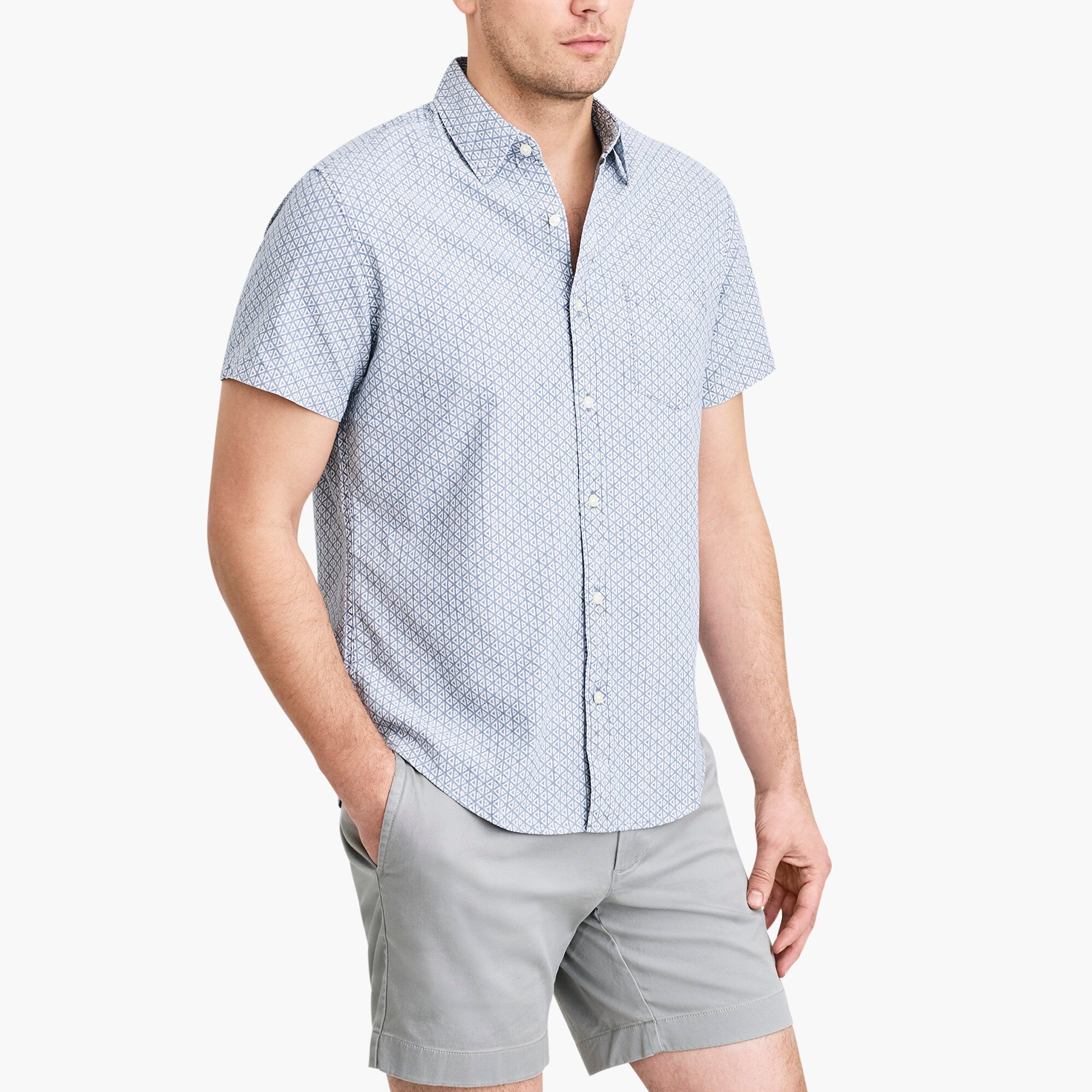 factory mens Slim short-sleeve printed chambray shirt
