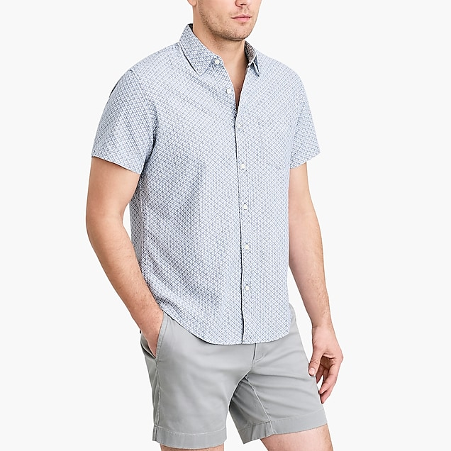 j.crew factory: printed slim casual short sleeve chambray shirt