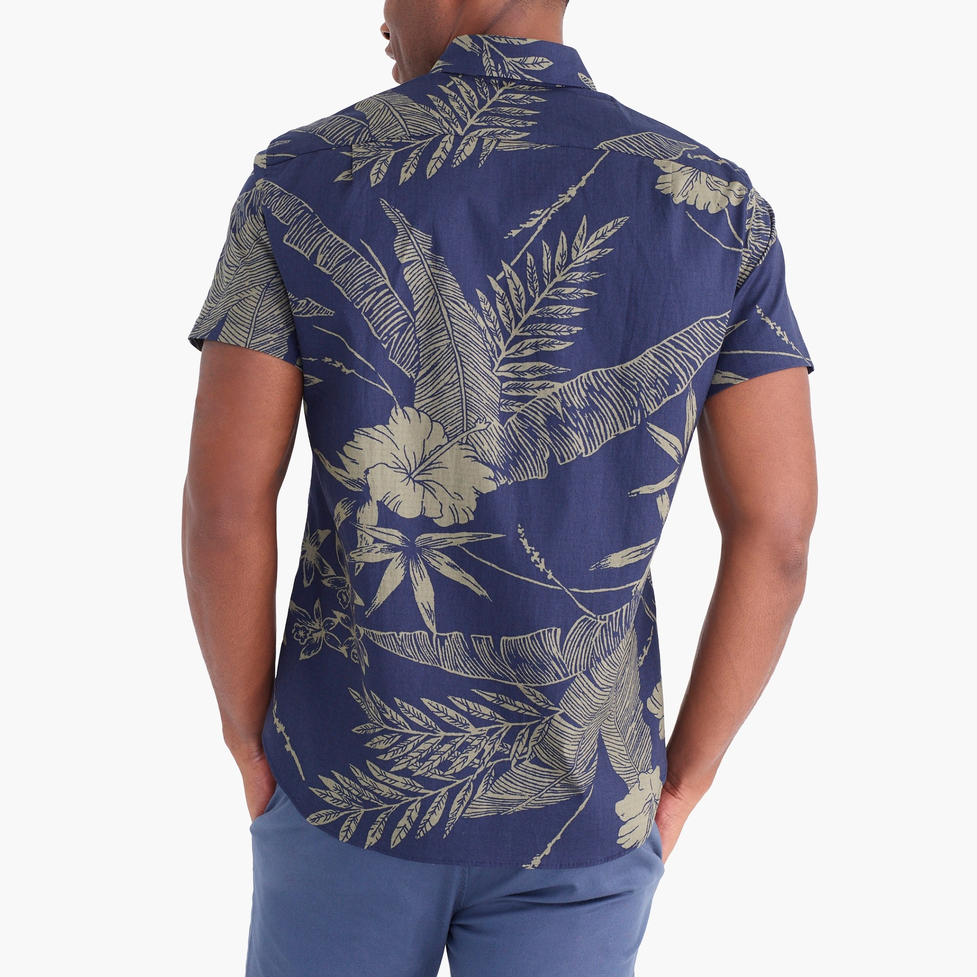 Image 3 for Printed slim flex casual short sleeve shirt