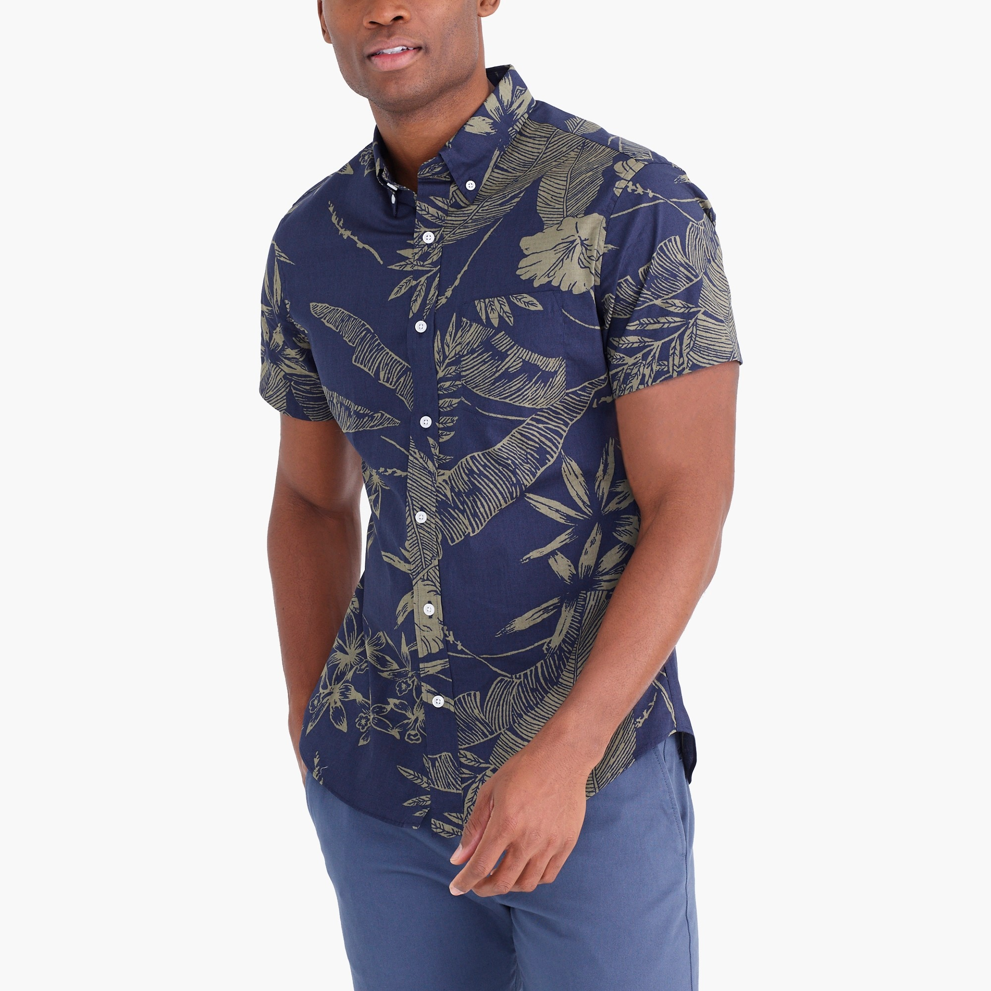 Image 1 for Printed slim flex casual short sleeve shirt