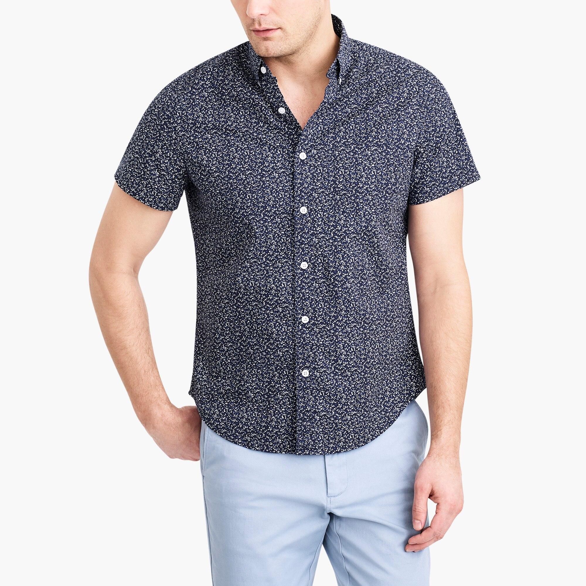 factory mens Floral printed slim flex casual short sleeve shirt