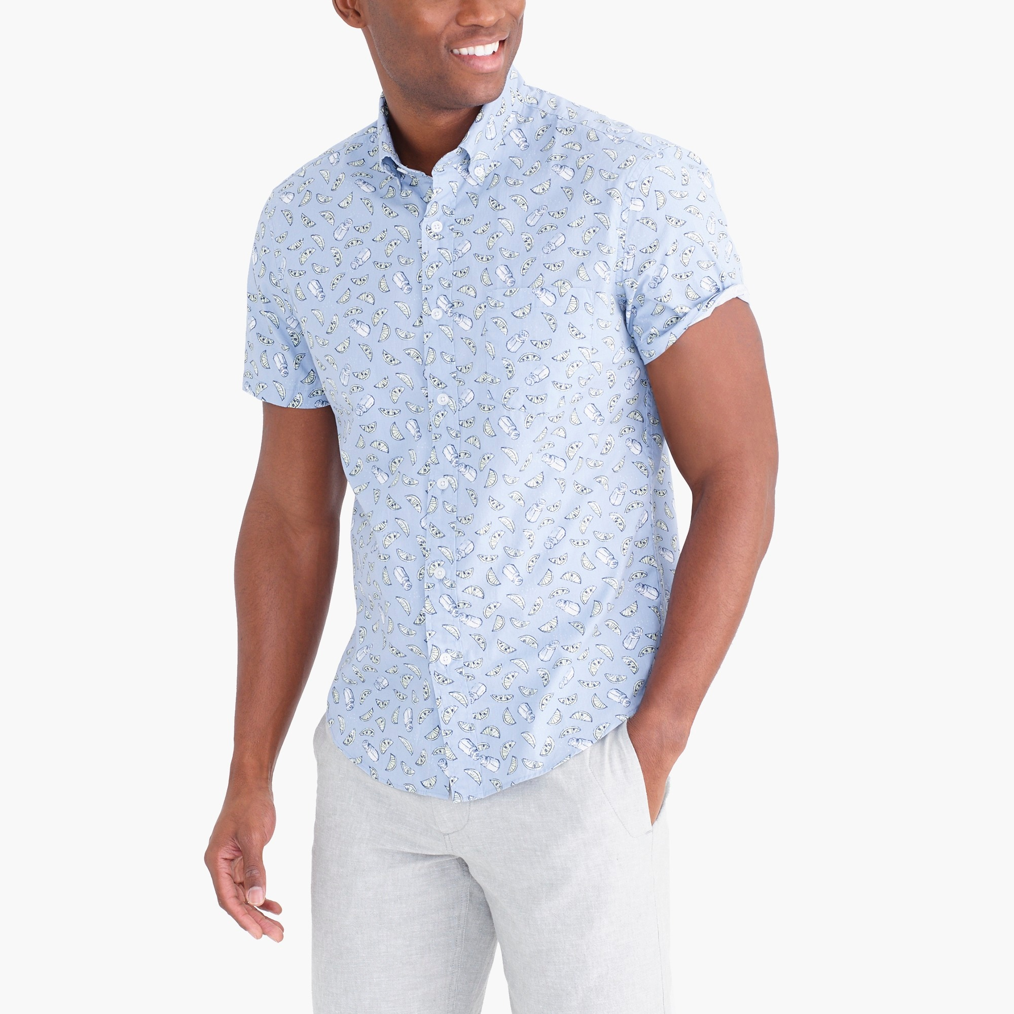 factory mens Slim flex washed short-sleeve shirt in print