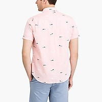 Image 3 for Slim flex washed short-sleeve shirt in print