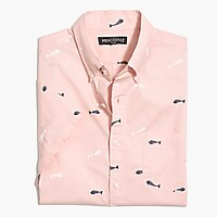 Image 4 for Slim flex washed short-sleeve shirt in print