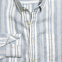 Image 4 for Slim linen shirt in stripe