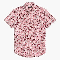 Floral printed slim flex casual short sleeve shirt