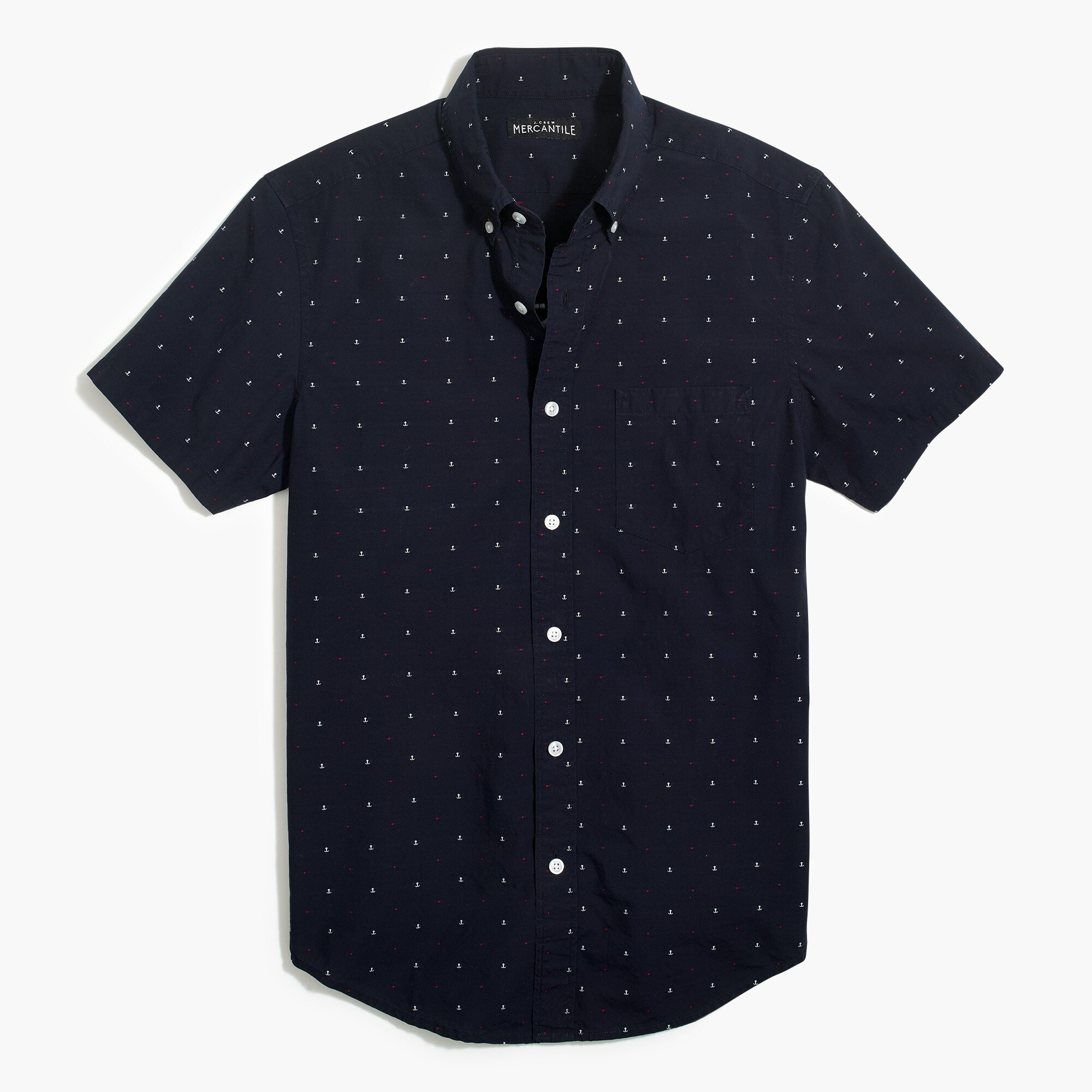 factory mens Slim short-sleeve shirt in cotton dobby