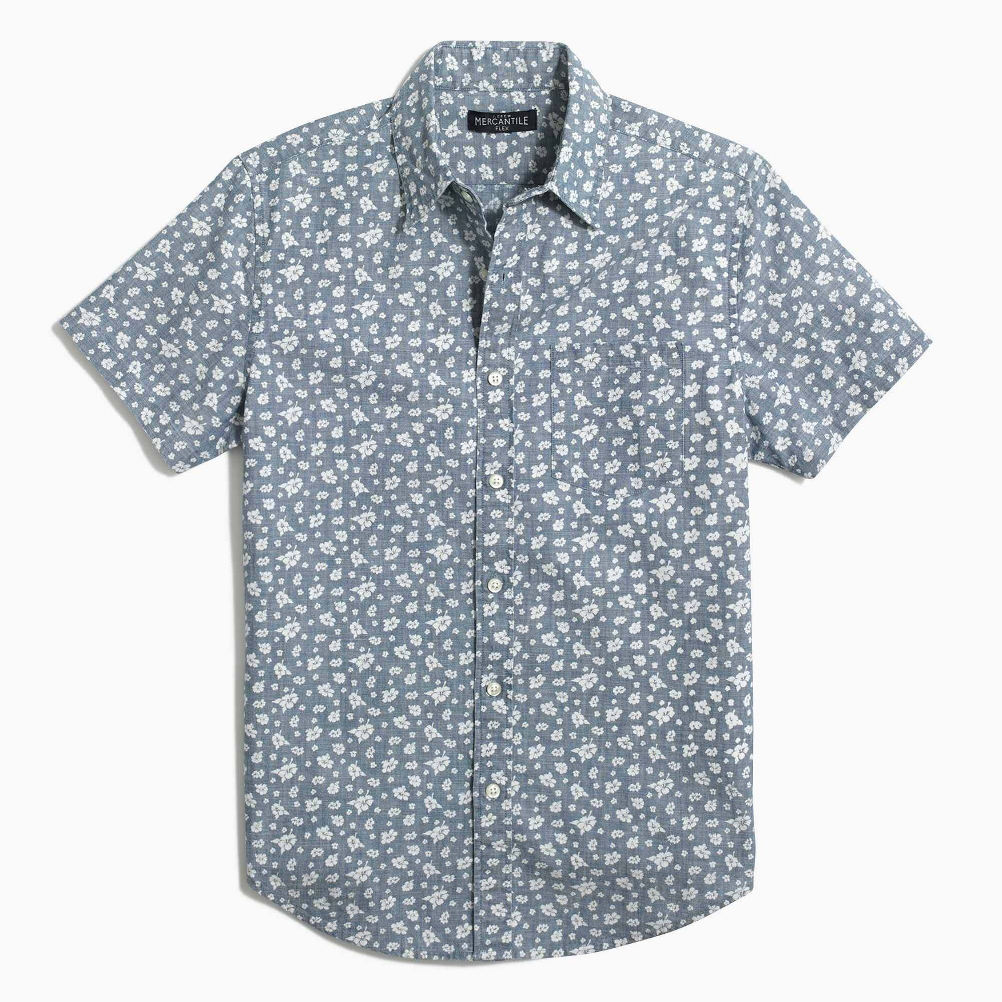 Image 3 for Slim short-sleeve printed chambray shirt