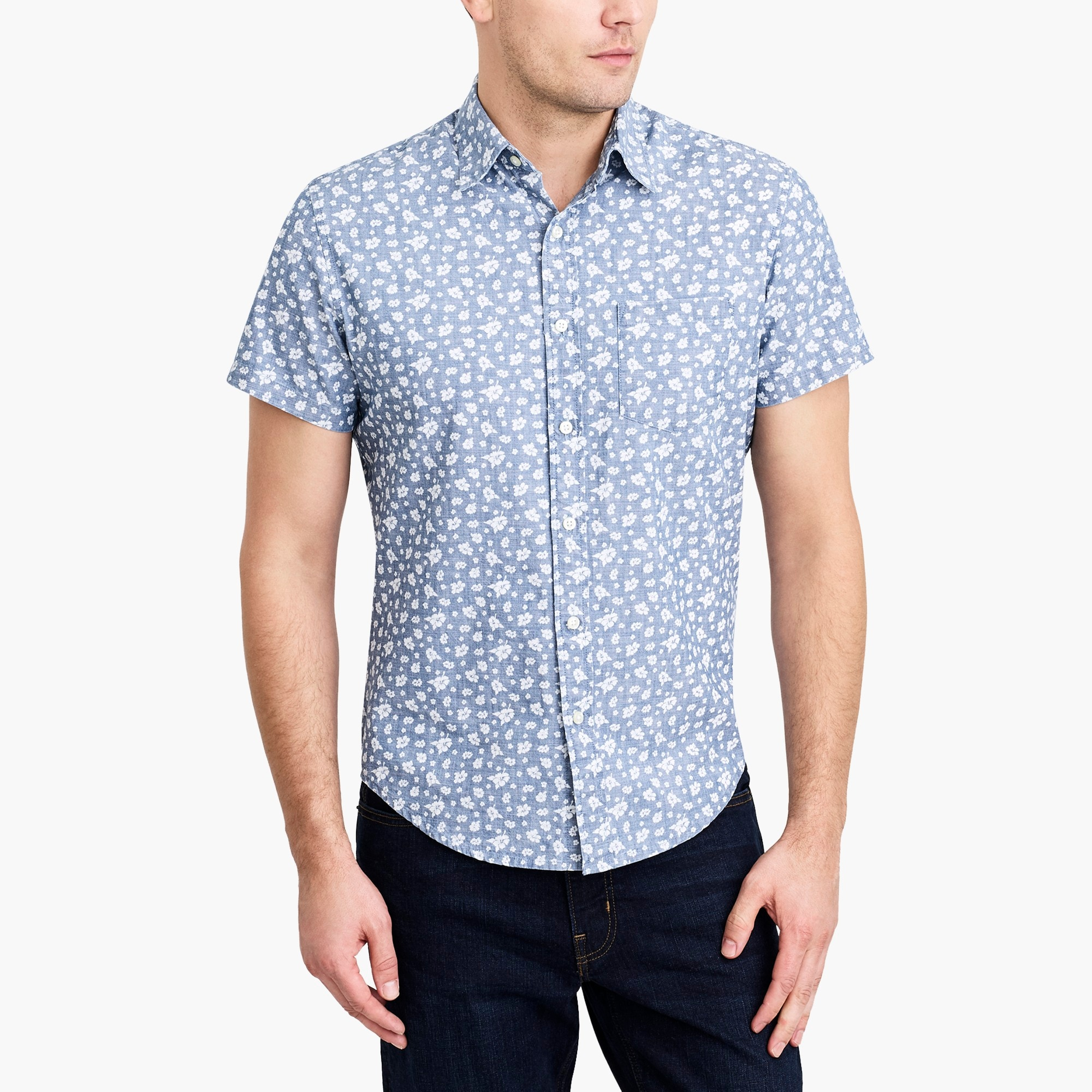 Image 1 for Slim short-sleeve printed chambray shirt