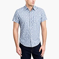 Image 1 for Printed slim casual short sleeve chambray shirt
