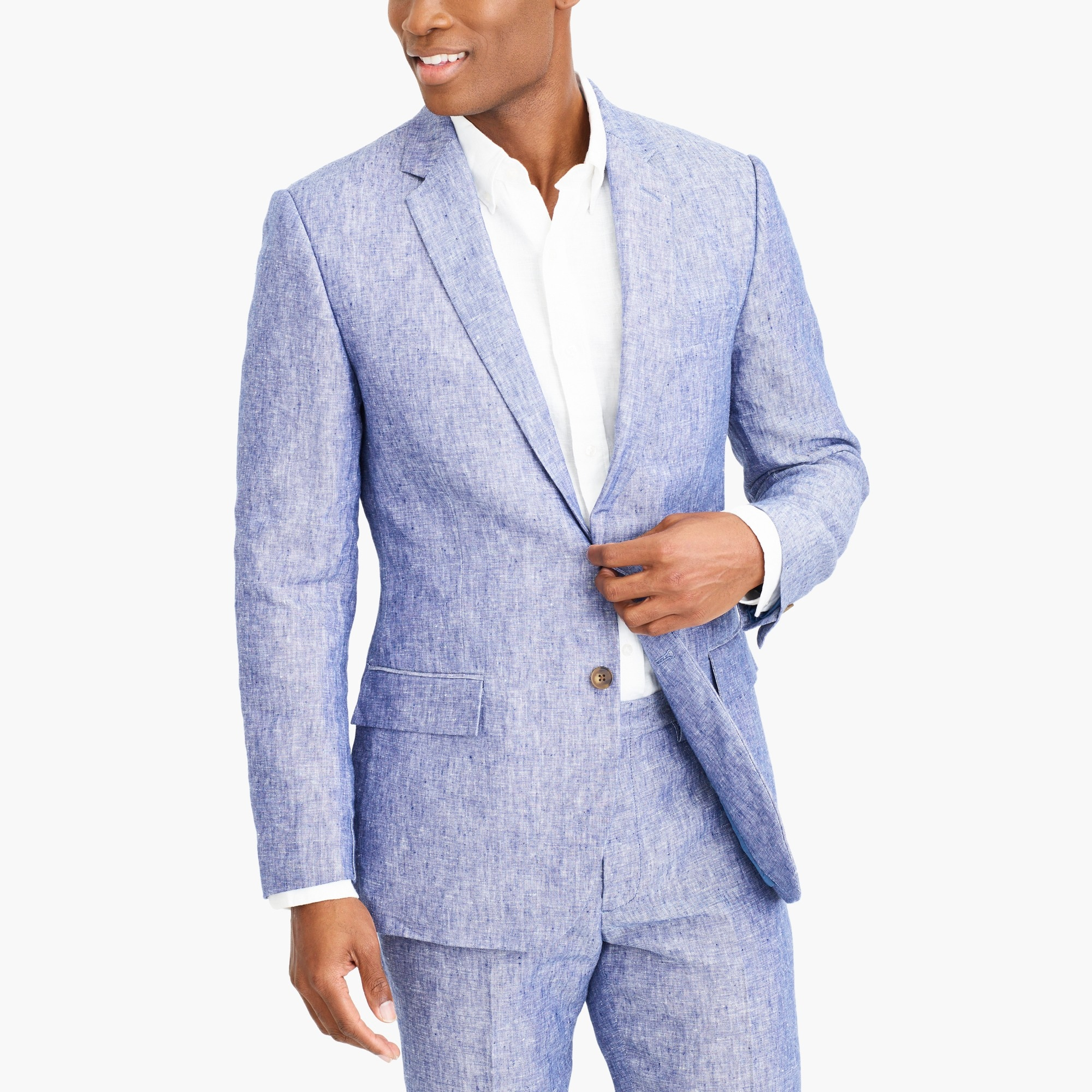 factory mens Slim Thompson suit jacket in linen