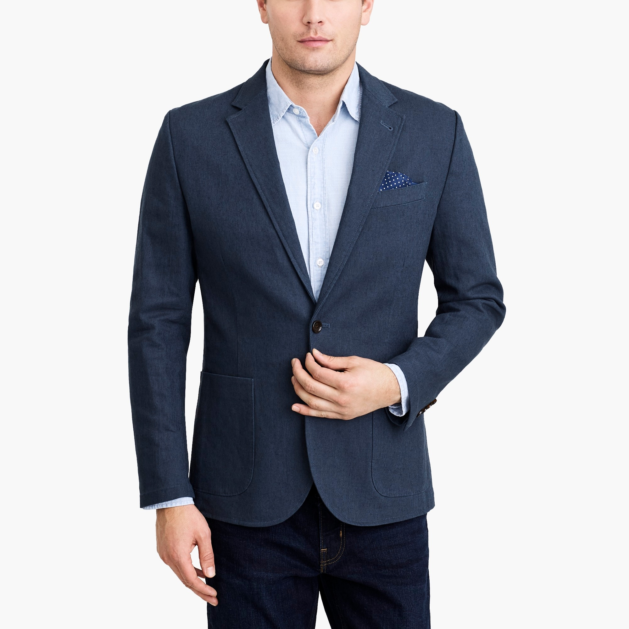 factory mens Slim Thompson unstructured blazer in linen-cotton