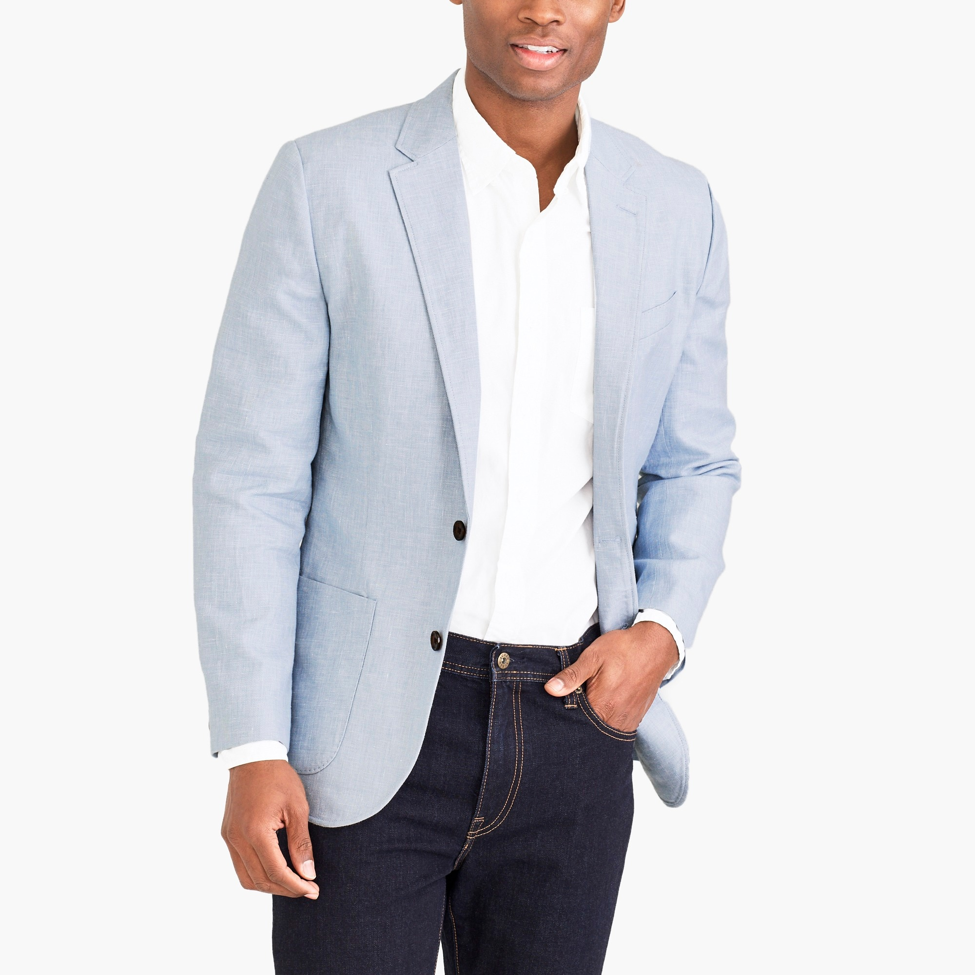 factory mens Slim Thompson blazer in cotton-linen