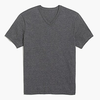 factory mens Slim washed jersey V-neck T-shirt