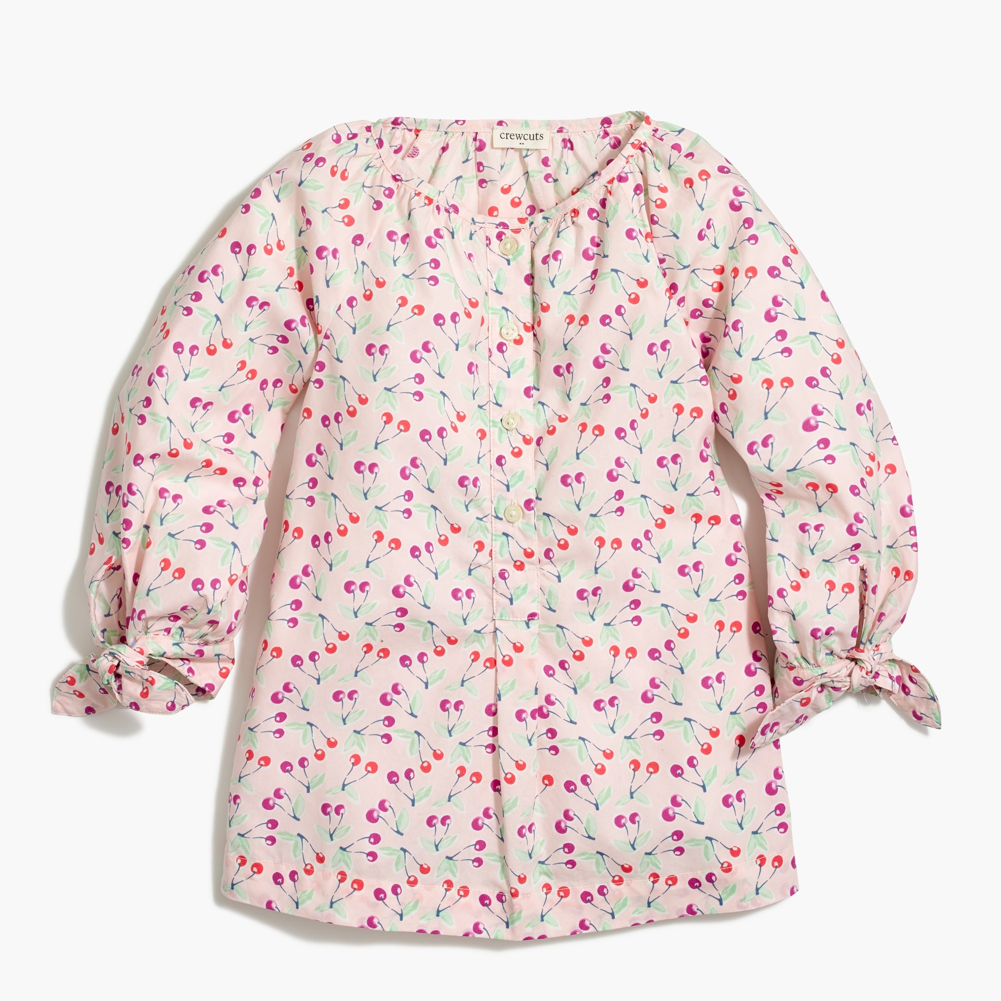 factory girls Girls' tie-sleeve top in cherry print