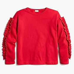Girls' ruffle-sleeve sweatshirt