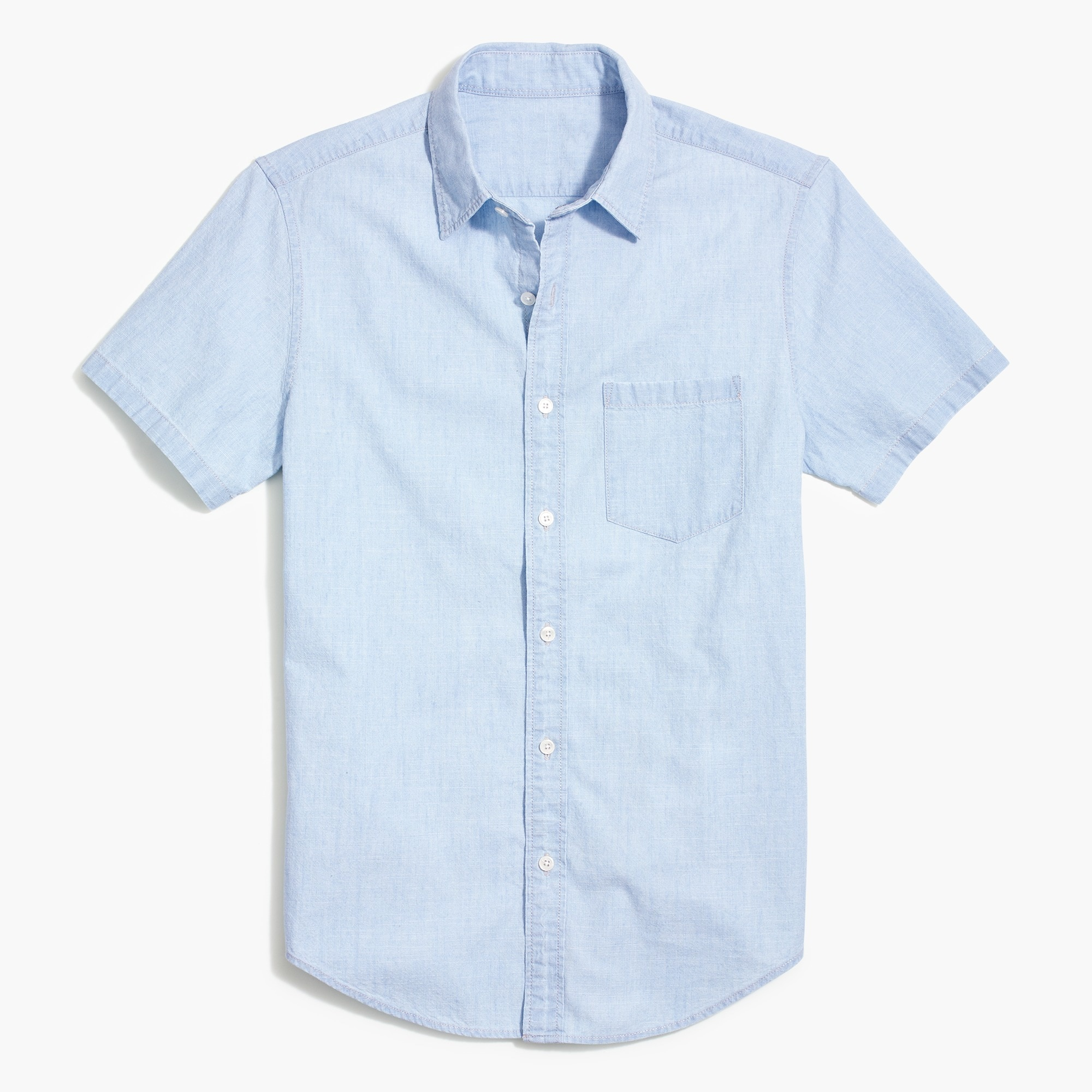 factory mens Slim short-sleeve chambray shirt