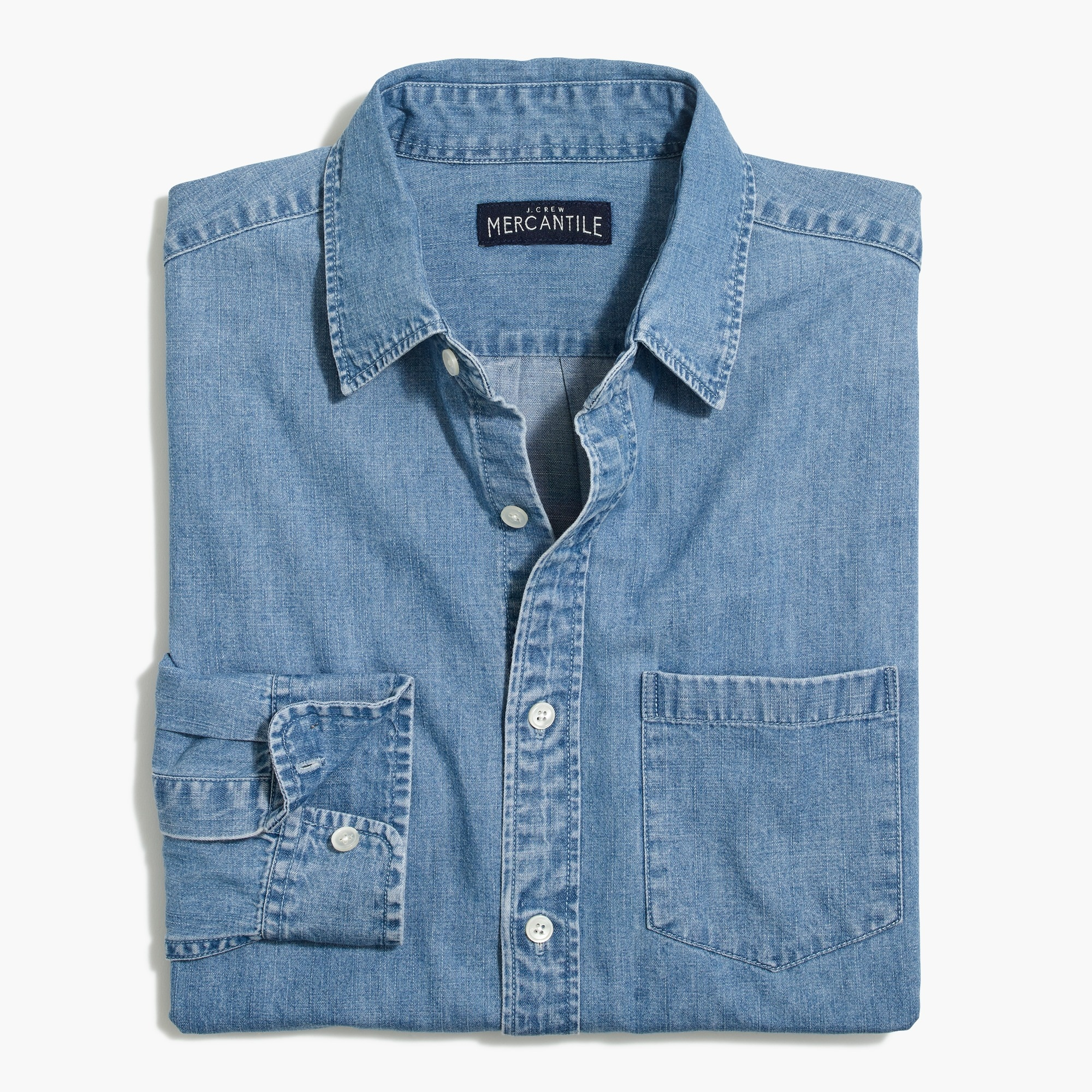 factory mens Denim shirt in light wash
