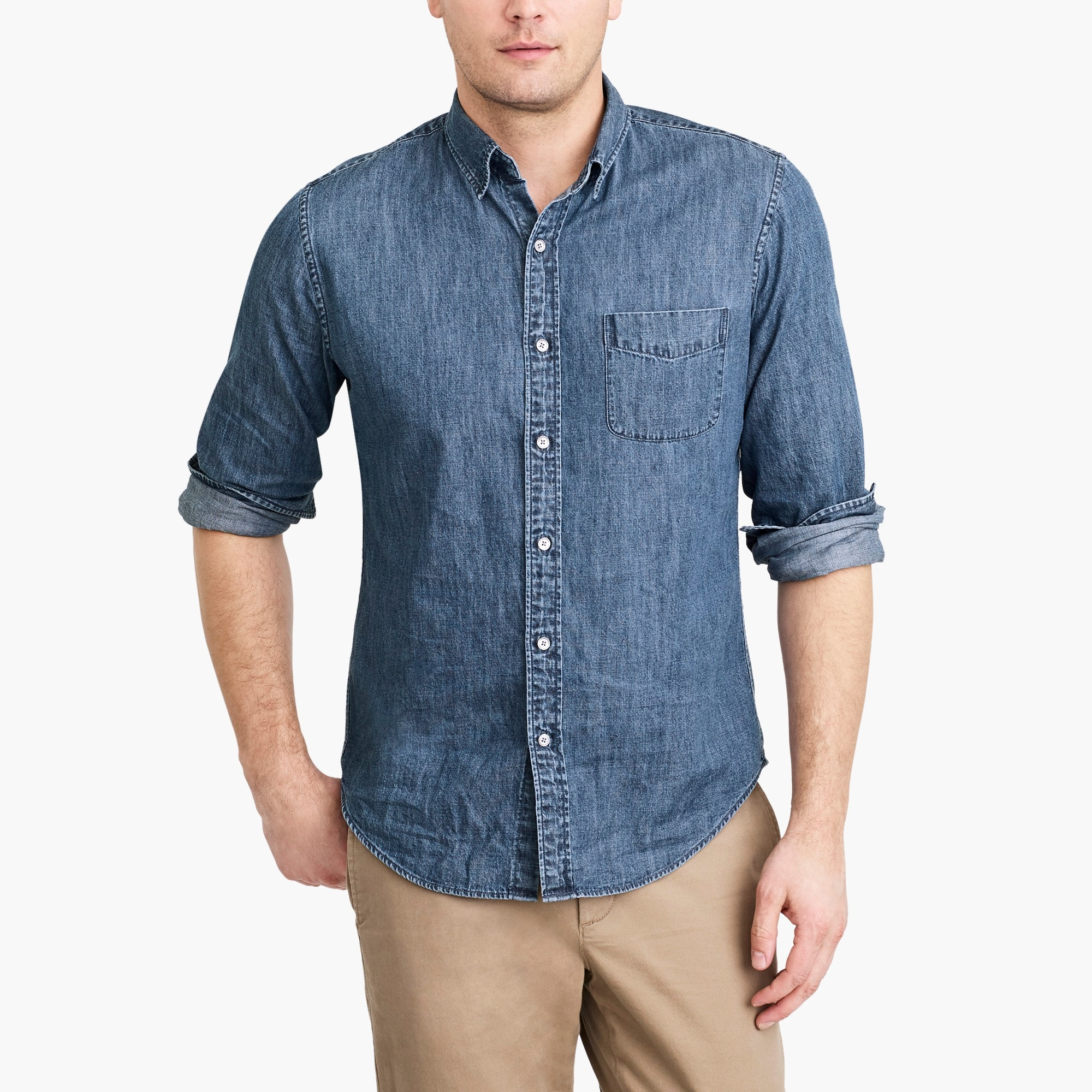 factory mens Denim shirt in medium wash