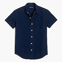 Solid slim casual short sleeve ripstop denim shirt