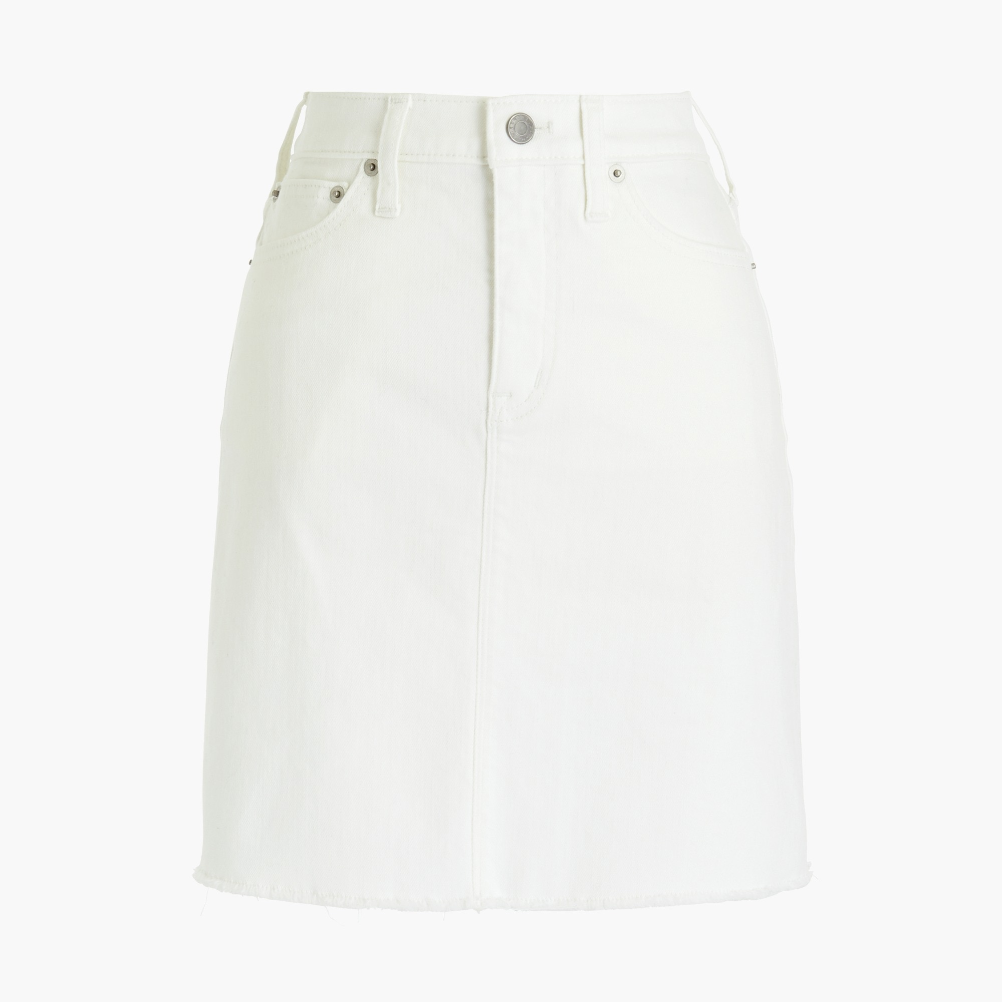 factory womens Raw edge denim mini skirt in chalk