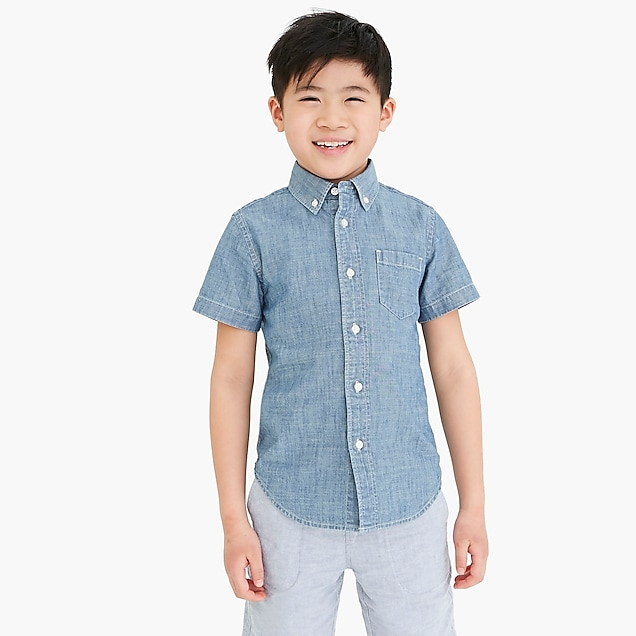 j.crew factory: boys' short-sleeve chambray shirt