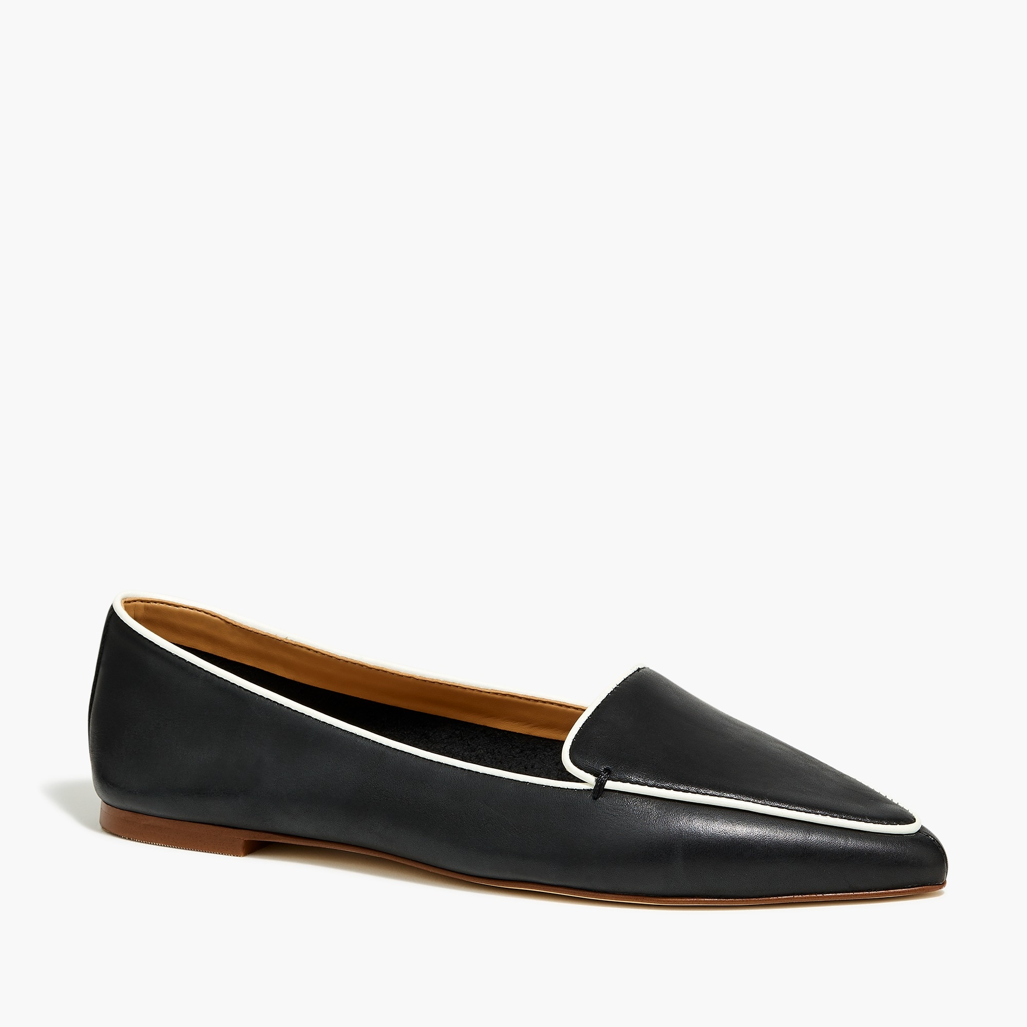 factory womens Edie leather loafers with piping