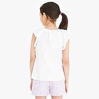 Girls' flutter-sleeve top in eyelet