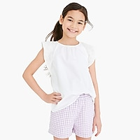 Image 1 for Girls' flutter-sleeve top in eyelet
