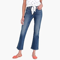 "9"" high-rise flare crop jean in medium wash"