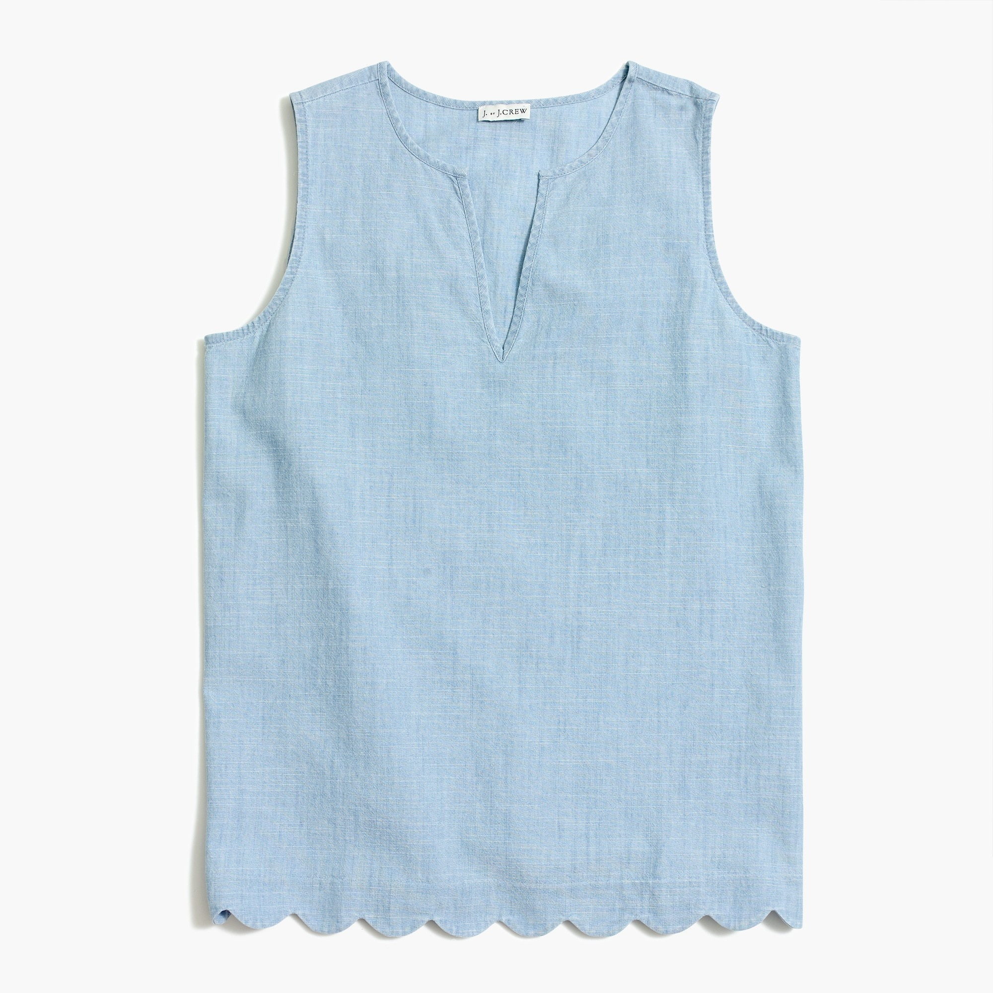 Scallop-hem shirt in chambray