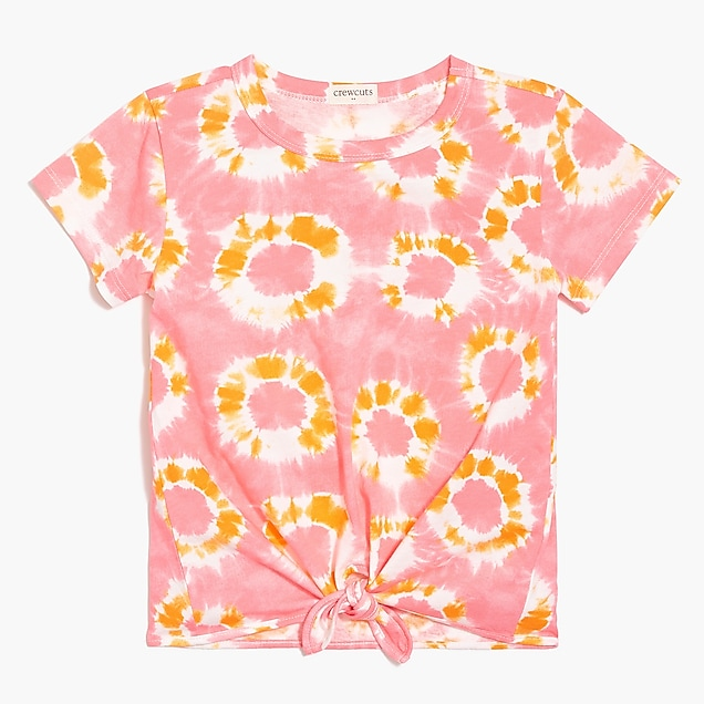 j.crew factory: girls' tie-front t-shirt in tie-dye