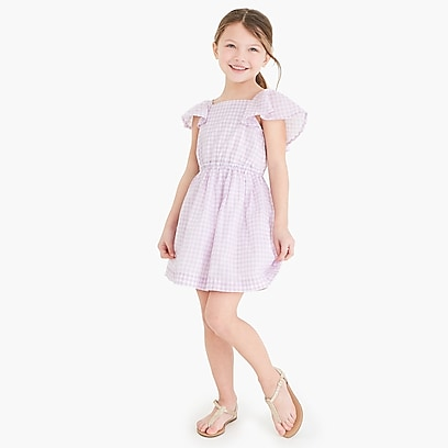 factory girls Girls' flutter-sleeve dress in gingham