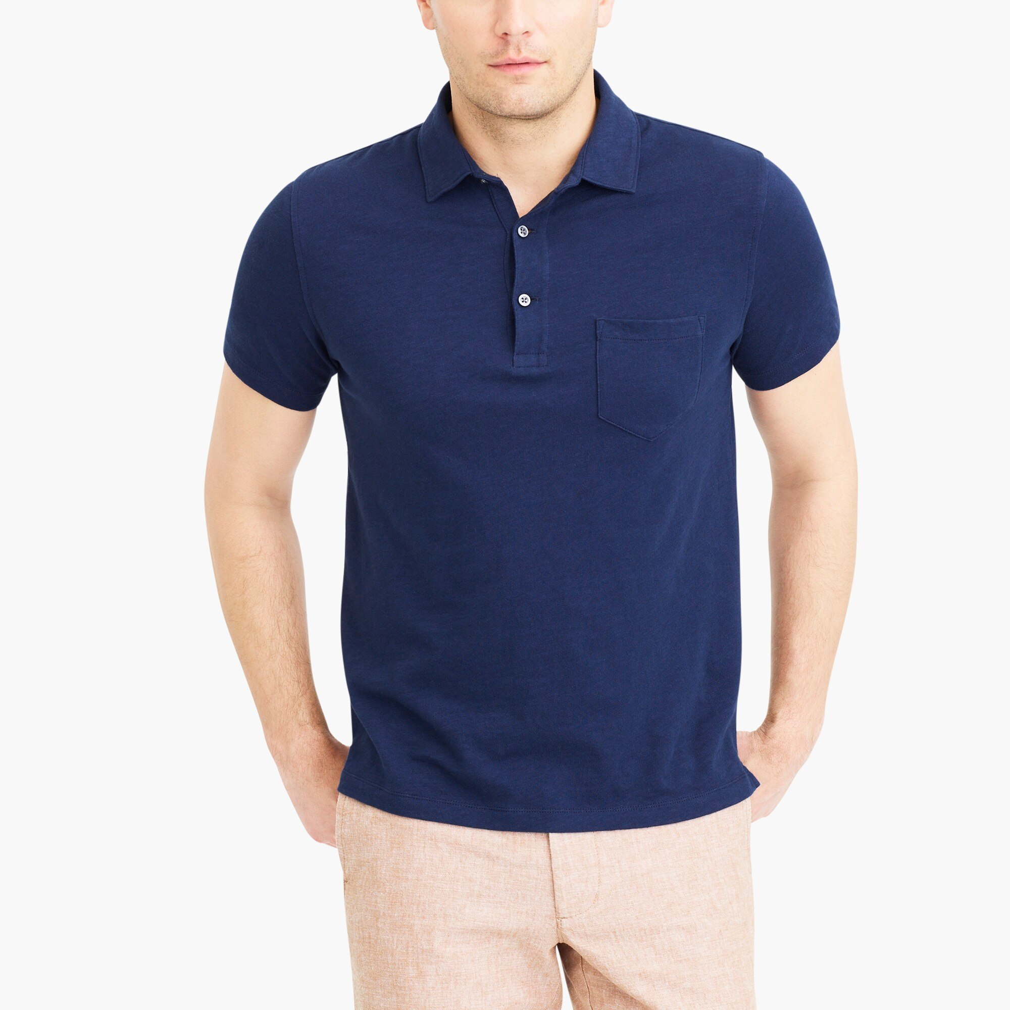 short-sleeve polo shirt in slub cotton : factorymen slub cotton polo