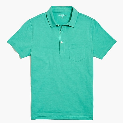 Short-sleeve polo shirt in slub cotton